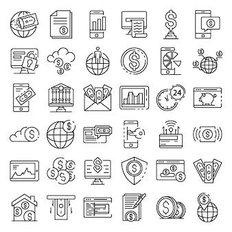 Conjunto de ícones de internet banking, estilo de estrutura de tópicos