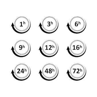 Conjunto de ícones de intervalos de tempo por hora. vetor. eps 10