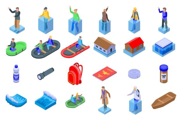 Conjunto de ícones de inundação, estilo isométrico