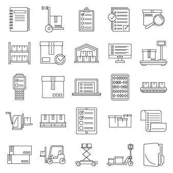Conjunto de ícones de inventário de trabalho, estilo de estrutura de tópicos