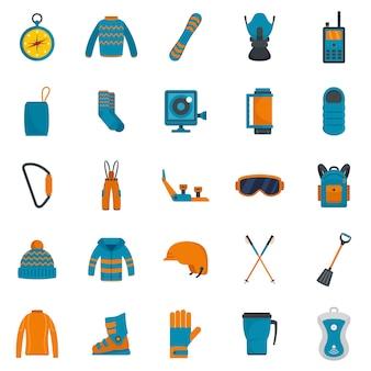 Conjunto de ícones de inverno de equipamento de snowboard