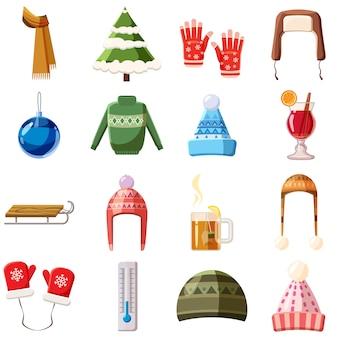 Conjunto de ícones de inverno, estilo cartoon