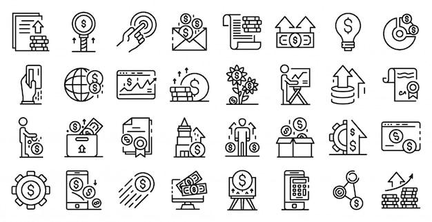 Conjunto de ícones de investidor, estilo de estrutura de tópicos