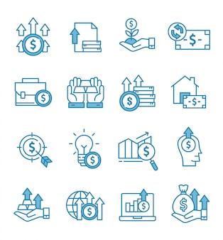 Conjunto de ícones de investimento com estilo de estrutura de tópicos