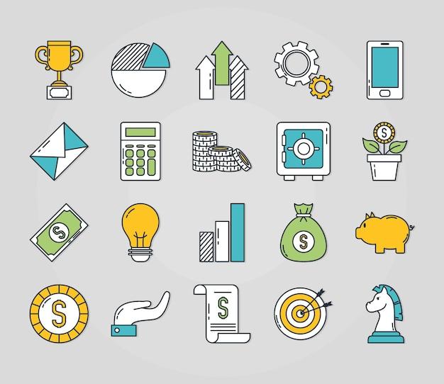 Conjunto de ícones de investimento e dinheiro