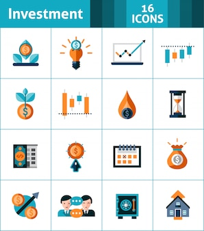 Conjunto de ícones de investimento