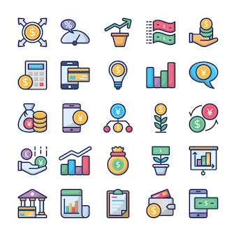 Conjunto de ícones de investimentos e finanças