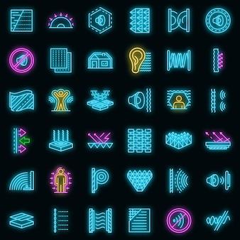 Conjunto de ícones de isolamento acústico. conjunto de contorno de ícones de vetor à prova de som, cor de néon em preto