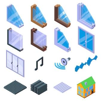 Conjunto de ícones de isolamento acústico, estilo isométrico