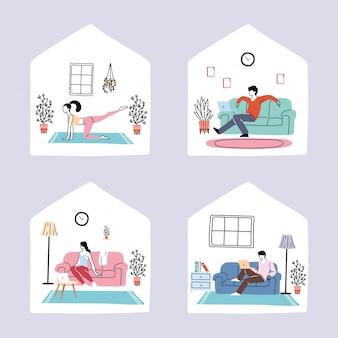 Conjunto de ícones de isolamento e distanciamento social