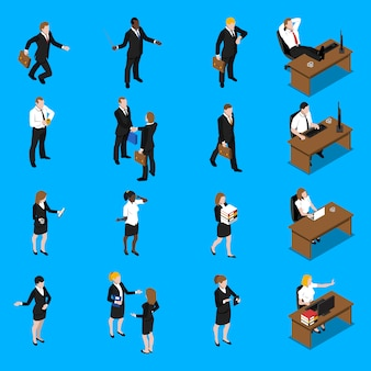 Conjunto de ícones de isométrica de trabalho de pessoas de negócios