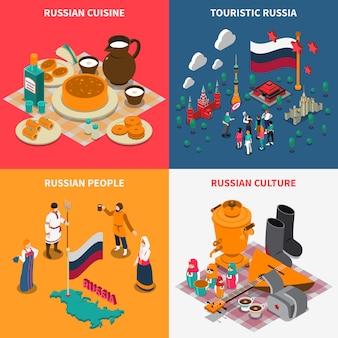 Conjunto de ícones de isométrica turística russa 2 x 2