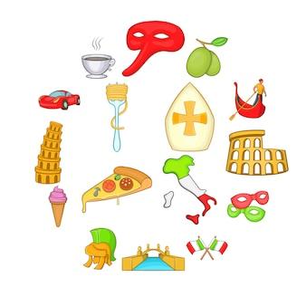 Conjunto de ícones de itália em estilo cartoon