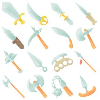 Conjunto de ícones de itens de armas de aço