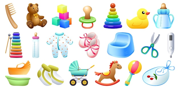 Conjunto de ícones de itens de bebê. conjunto de desenho animado