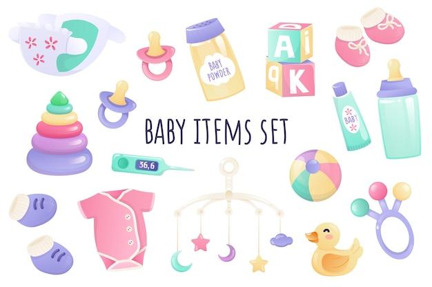 Conjunto de ícones de itens de bebê em design 3d realista pacote de fralda chupeta e frasco de creme em pó