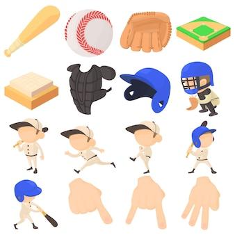 Conjunto de ícones de itens de beisebol