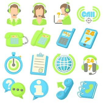 Conjunto de ícones de itens de centro de chamada