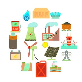 Conjunto de ícones de itens de fontes de energia, estilo cartoon