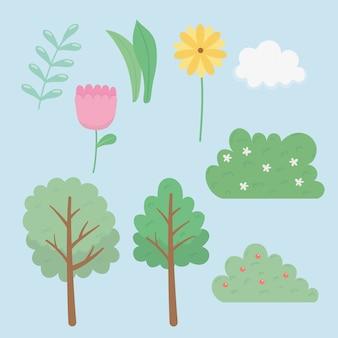 Conjunto de ícones de jardim de elementos
