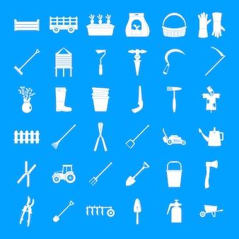 Conjunto de ícones de jardim de equipamentos agrícolas, estilo simples