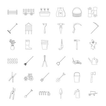 Conjunto de ícones de jardim de equipamentos agrícolas