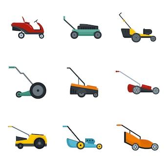 Conjunto de ícones de jardim de grama cortador de grama