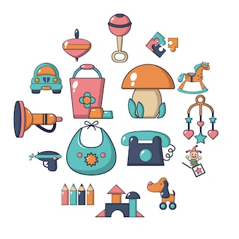 Conjunto de ícones de jardim de infância, estilo cartoon