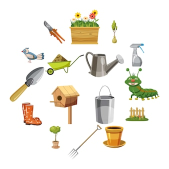 Conjunto de ícones de jardim, estilo cartoon