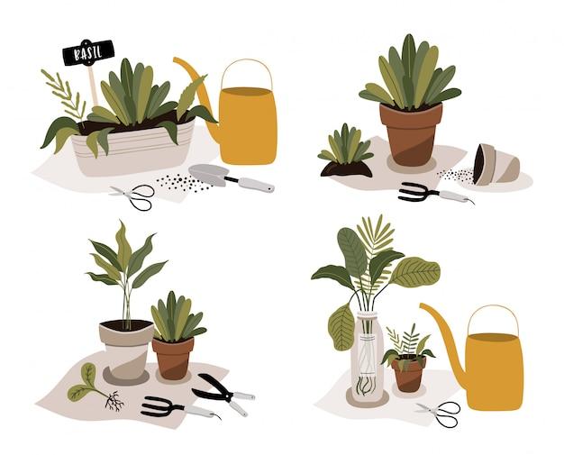 Conjunto de ícones de jardinagem com plantas em vaso.