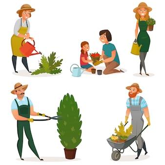 Conjunto de ícones de jardinagem passatempo