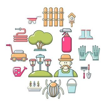 Conjunto de ícones de jardineiro, estilo cartoon
