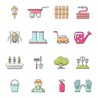 Conjunto de ícones de jardineiro