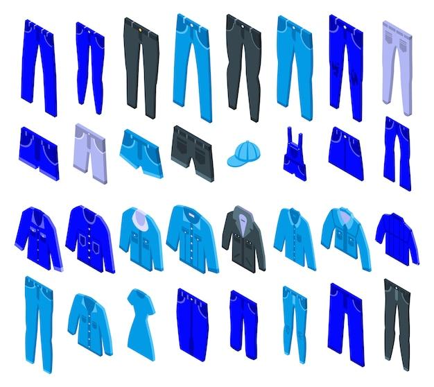 Conjunto de ícones de jeans, estilo isométrico