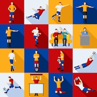 Conjunto de ícones de jogadores de futebol plano