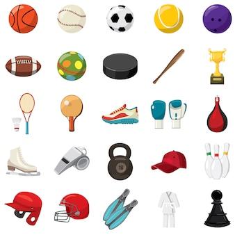 Conjunto de ícones de jogo de esporte em estilo cartoon