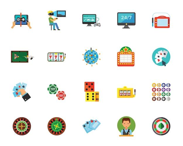 Conjunto de ícones de jogos de azar
