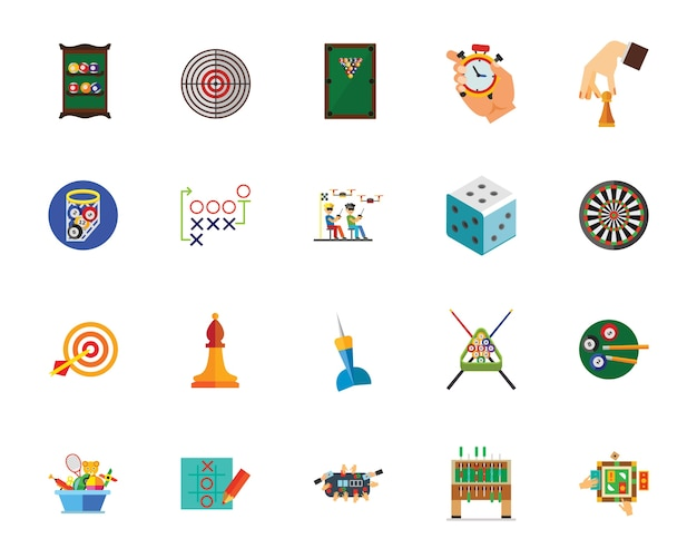 Conjunto de ícones de jogos de lazer