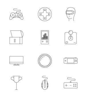 Conjunto de ícones de jogos de vídeo de linha
