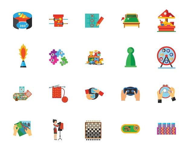 Conjunto de ícones de jogos e hobbies