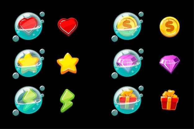 Conjunto de ícones de jogos em bolhas. bolhas de sabão com objetos para a interface ou menu do jogo.