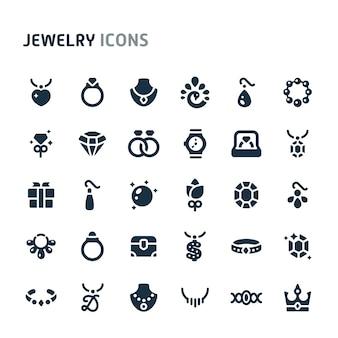 Conjunto de ícones de jóias. série de ícone preto fillio.