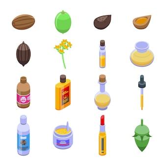 Conjunto de ícones de jojoba. conjunto isométrico de ícones de jojoba para web