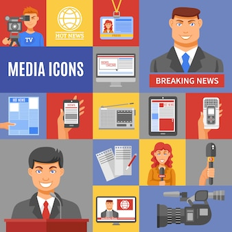 Conjunto de ícones de jornalismo