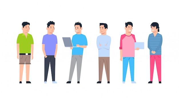 Conjunto de ícones de jovens homens asiáticos chinês