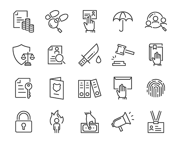 Conjunto de ícones de juctice, como direito, advogado, trabalho, jurídico, seguro