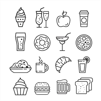 Conjunto de ícones de junk food rápido