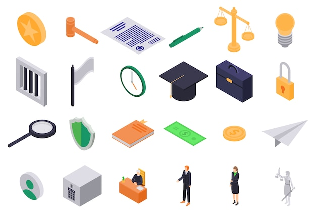 Conjunto de ícones de justiça, estilo isométrico