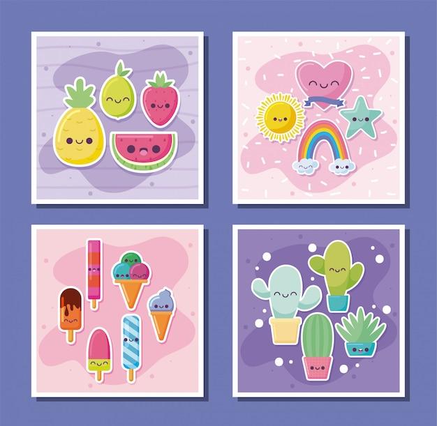 Conjunto de ícones de kawaii desenhos animados