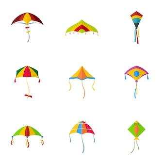 Conjunto de ícones de kite mosca fofa, estilo simples